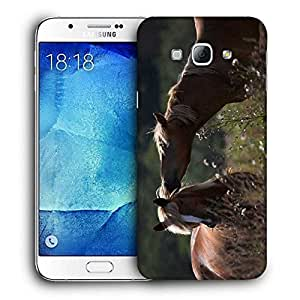 Snoogg Horse And Snow Printed Protective Phone Back Case Cover For Samsung Galaxy A8