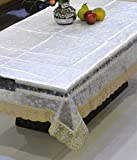 AAkarshan - Transparent Table Cloth having Oval Self Design (40 X 60 Inches)