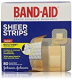 Band-Aid Brand Adhesive Bandages, Sheer Strips, Assorted, 80 Count