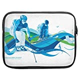 Winter Olympics Skiing 12 inch Zipper Pouch for Tablets and Laptops