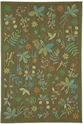 "5'6"" x 8'6"" Rectangular Safavieh Area Rug MSR1315A-6 Twig Color Hand Hooked China ""Martha Stewart Collection"" Grove Design"