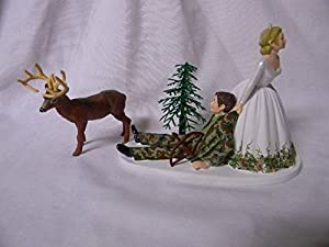 Wedding Party Reception Bow Arrow Camo Deer Hunter Hunting Cake Topper