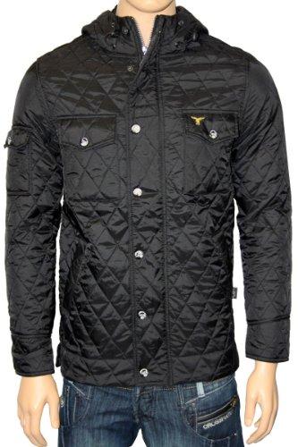 New Mens Black Le Breve Creek Designer Hooded Hoody Jacket Coat Size S