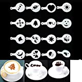 16pcs Creative Nice Coffee Barista Stencils Template Strew Pad Duster Spray Art (Random Style)