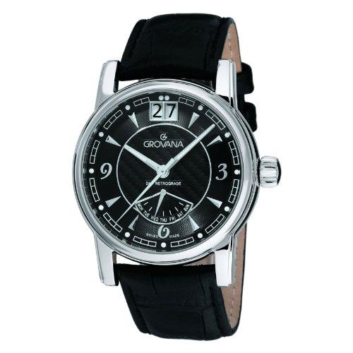 Grovana 1721,1537 - Reloj analógico de cuarzo para hombre, correa de cuero color negro