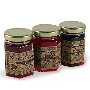 Spicy Pepper Berry Glaze Tri-Pack: Rose City Pepperheads 3oz. from Rose City Pepperheads