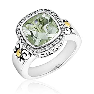 Two-Tone Green Amethyst and Diamond Ring 1/6ctw - Size 7