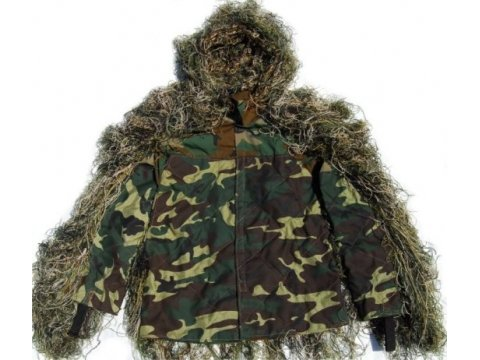 Synthetic Ultra-Light Sniper Ghillie Woodland BDU Jacket