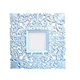 Shah Kreations White Cutting Square Carved Mirror