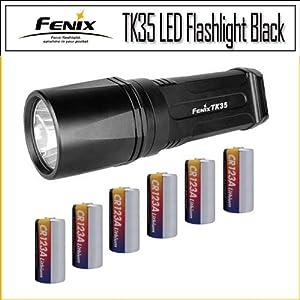 Fenix TK35 LED Flashlight Black 820 Lumens Battery Bundle