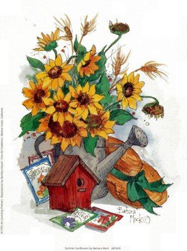 Summer Sunflowers Art Poster PRINT Barbara Mock 6x8