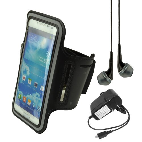 Black Sports Armband For Nokia Lumia 1020 920 Samsung Galaxy S4 I9500 S3 I9300 Lg Nexus 5 + Vangoddy Headphone With Mic, Black + Black Home Charger