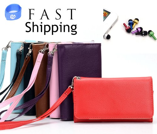 Pink Wallet Clutch With Mini Stylus Earphone Plug (Styles & Colors Vary) For Samsung Galaxy S3 I9300 + Envydeal Velcro Cable Tie