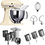 """Kitchenaid KSM150PSEAC + MVSA + EMVSC Kitchenaid 5KSM150PSEAC Küchenmaschine Serie """"Artisan"""" plus Zubehör mit 6 Trommeln, cremé"""