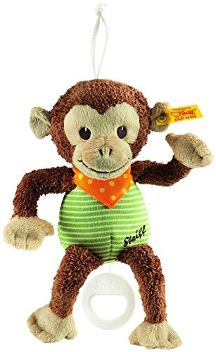 Steiff Jocko Monkey Music Box - Brown/Beige/Green
