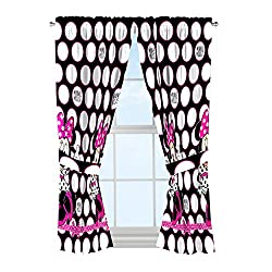 Disney Minnie Mouse Dots Are New Black Microfiber 4 Piece Curtain Panel Tie Back