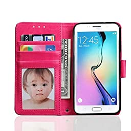 Flip Wallet Case ,ABC® Leather Cover For Samsung Galaxy S7 (Hot Pink)