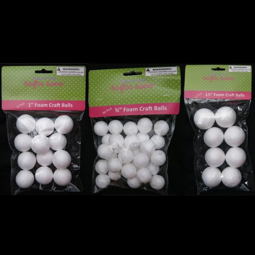 "50 Foam Polystyrene Art Craft Styro White Balls Project Styrofoam 3/4"" 1"" 1 1/2"""
