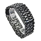 Fashion Binary Digital Watch /Blue LED Watch Metal Band Boys Mans Gift Black