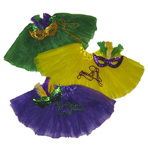 Southern Wrag Co Big Girls ADULT Mardi Gras Tutu DELUXE 3 Pak Waist 18-36 Length 16