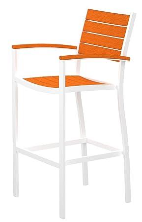 POLYWOOD A202-13TA Euro Bar Arm Chair, Satin White/Tangerine