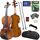 Cecilio CVN-700 Ebony Fitted Highly-Flamed One-Piece Solid Wood Violin with Tuner and Lesson Book, Size 4/4 (Full Size)