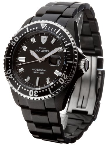DeTomaso Men's Quartz Watch with Black Dial Analogue Display and Black Stainless Steel Bracelet DT1025-E