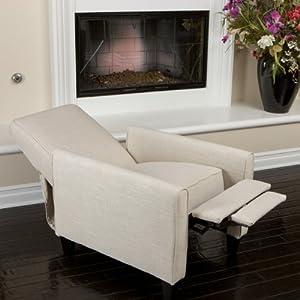 Lucas Light Beige Fabric Recliner Club Chair