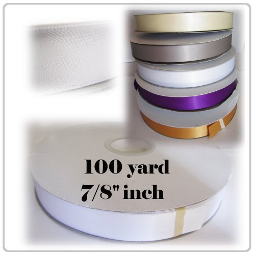 Pearl White Satin Ribbons for Gift Bow 7/8 thick x 100 yards - Double Faced/Side customize white laser cut lace ribbons bow wedding invitation kit blank printing invitations card set green inside paper