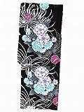 浴衣女女性レディース 高級変り織り浴衣(フリーサイズ)【黒地、八重桜と菊】 HBY668
