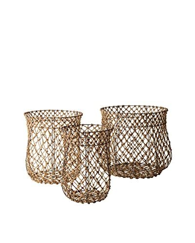 Artistic Set of 3 Nested Fisherman Rope Baskets, Brown