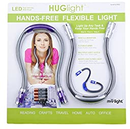 HUGlight Flexible Hands Free LED Light Set of Two (Purple and Silver)