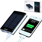 Universal 10000mAh Portable Dual USB External Solar Power Bank / Backup Battery Charger;External Battery Packs Solar Charger / Solar Panel Charger for Headlamp iPhone iPod iPad HTC Samsung Blackberry and GPS,Tablets,Camera(Apple Adapters not Include)