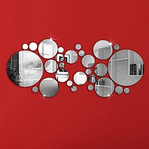"""Soledì- Adesivi Murali """"30 Pezzi Specchio Puntino di Polka Tono 3D Effetto Argento"""" Adesivo Sticker Murali Decorazione da Parete, FAI DA TE!"""
