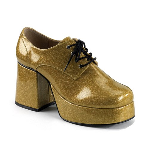 JAZZ-02G, Men's Halloween or Theatre Costume Pimp Daddy Glitter Disco Shoes by Funtasma