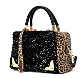 CA women's PU Leather Sequins Shoulder Bag Color Black Size Medium