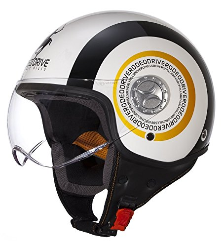 Rodeo Drive RD105 Casco D/Jet Sfoderabile, Unisex, Bianco/Nero, 61-62
