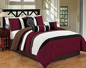 JBFF Bed In Bag Microfiber Luxury Comforter Set, Queen, Burgundy/Coffee, 7 Piece