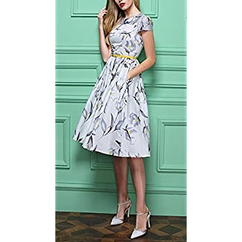 Olrain Womens Vintage Floral Printed Cap Sleeve Tea Dress with Belt