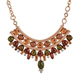 Snowman Lee Multi Layer Gemstone Decorated Elegant woman celebration Statement Necklace (Brown)