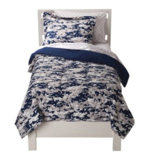 Blue Camouflage Boys Twin Comforter Set (5 Piece Bed In A Bag)