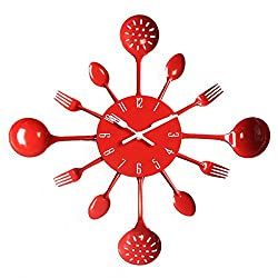 YESURPRISE 15.8 Kitchen Housewares Wall Clock Cutlery Fork & Spoons Decorative Clock Red