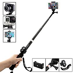 Selfie Stick,URPOWER handheld monopod for GoPro Hero 1 2 3 3+ 4, Camera and Cell Phone - All-in-One for Smartphone, Digital Camera, POV, Camera Canon Nikon Sony Panasonic Olympus and more (Black)