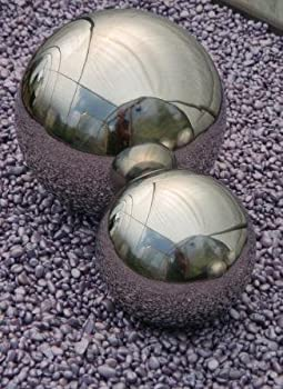 Set of Two 9 & 13cm Stainless Steel Mirror Sphere Ornaments from Ornamental Weather