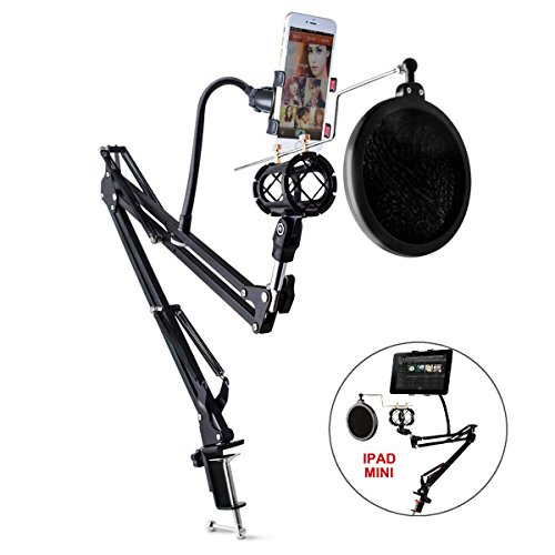 Elongdi-Microphone-Phone-Holder-Kit-360Adjustable-Professional-Recording-Microphone-Suspension-Boom-Scissor-Arm-Stand-with-Pop-Filter-Mask-Shield-for-Internet-Karaoke-Phone-Karaoke-MV-Black