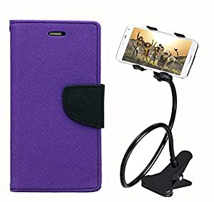 Aart Fancy Diary Card Wallet Flip Case Back Cover For HTC616 - (Purple) + 360 Rotating Bed Tablet Moblie Phone Holder Universal Car Holder Stand Lazy Bed Desktop for by Aart store.