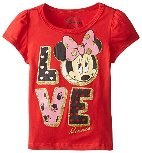 Disney Little Girls' Short Sleeve Minnie Love Tee, Red, 2T