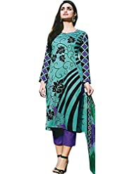 Exotic India Choodidaar Salwar Suit With Printed Flowers
