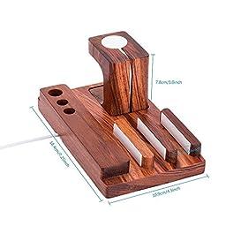 ZeroElec Solid Rose Wood Charge Dock Holder for Apple Watch & Docking Station Cradle Bracket for iPod iPhone iPad Kindle & Other Phones Tablets