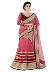 Moh Manthan Classic Worked Net Light Pink Lehanga Saree (3210)